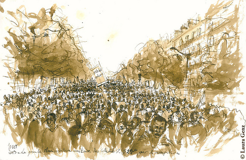 Croquis d'une manifestation - Laura Genz sur FlickR - Licence CCa